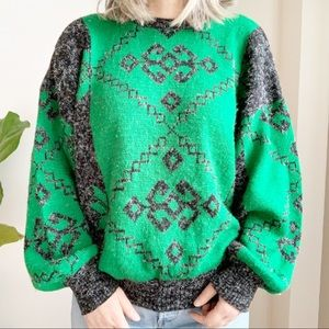 Vtg Crewneck Sweater Green Grey Made in Italy L
